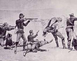 Slag bij Wounded Knee (afbeelding van Frederic Remington, 1891)