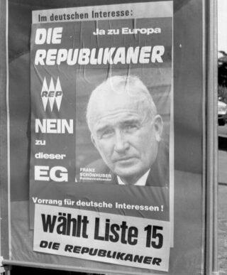 Franz Schönhuber op een Europese verkiezingsposter uit 1989
