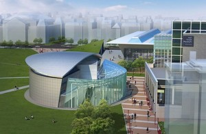 Ontwerp voor het nieuwe entreegebouw (Kisho Kurokawa Architect and Associates)