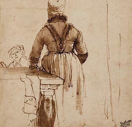 Detail van een van de werken van Rembrandt uit de collectie van het Teylers Museum