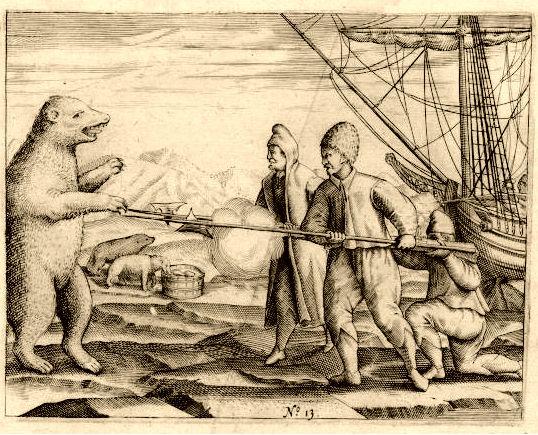 Twee mannen van de expeditie in gevecht met een ijsbeer - Afbeelding uit het dagboek van Gerrit de Veer (Rijksmuseum Amsterdam)