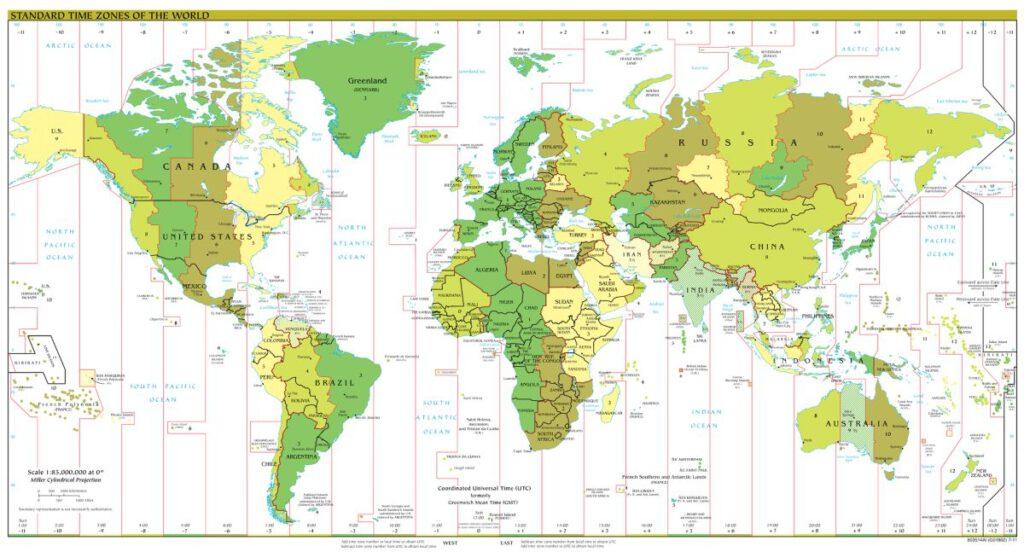 Kaart met tijdzones