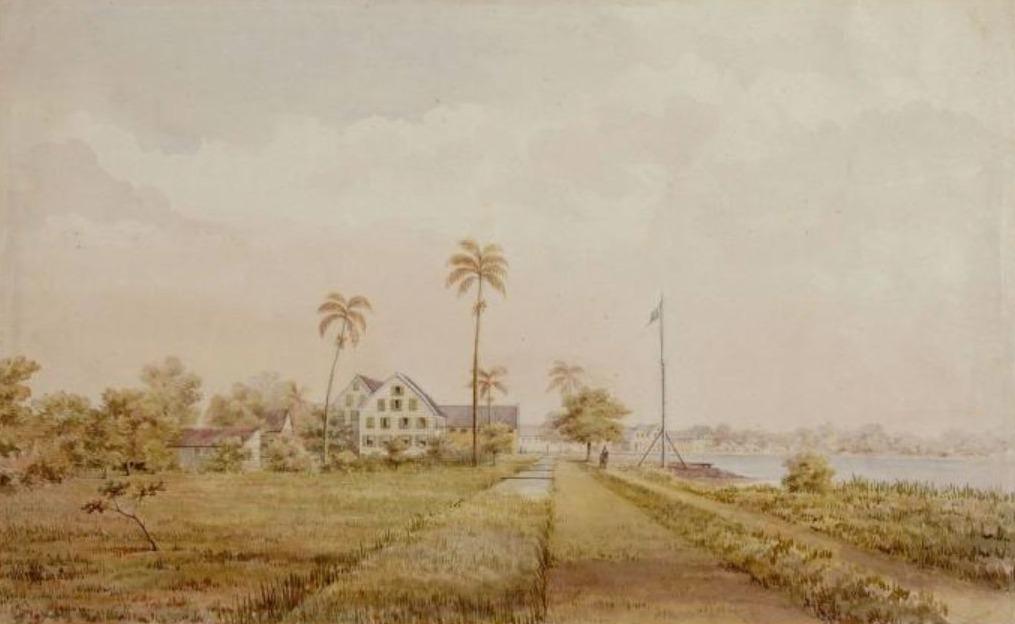 Plantages 'Nijd en Spijt' (beheerd door Susanna du Plessis) en 'Alkmaar' in nabijheid van de Commewijne rivier