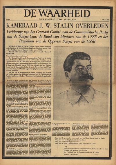 Bericht in De Waarheid over de dood van Staling