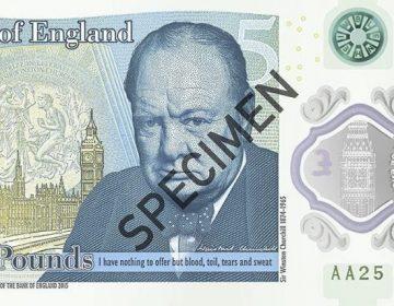 Het bankbiljet met de beeltenis van Winston Churchill