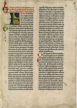 Eerste pagina van een Gutenberg-bijbel