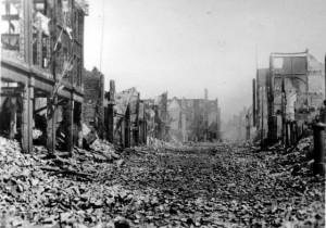 Rotterdam na het bombardement van mei 1940