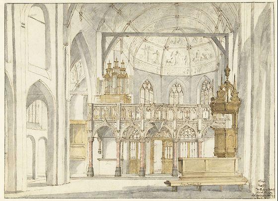 Het koor van de Sint-Pieterskerk in 's-Hertogenbosch, Pieter Jansz. Saenredam, 1632 (Rijksmuseum Amsterdam)