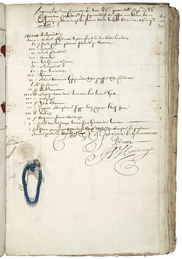 Lijst van goederen voor inkoop van slaven, 1688