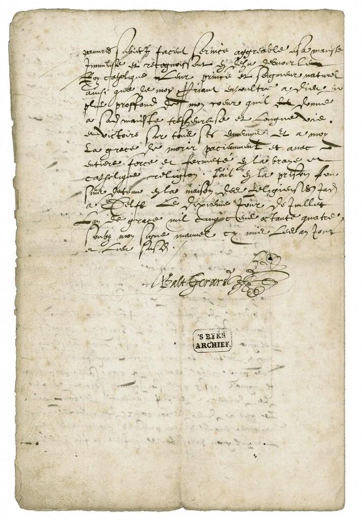 Bekentenis van Balthasar Gerards, 1584 – Nationaal Archief
