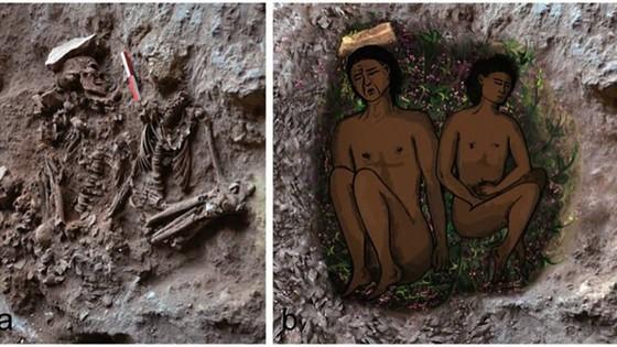 Links het graf zoals dat gevonden werd, en rechts een impressie van hoe het graf er ongeveer uit zou hebben gezien – Afb: PNAS