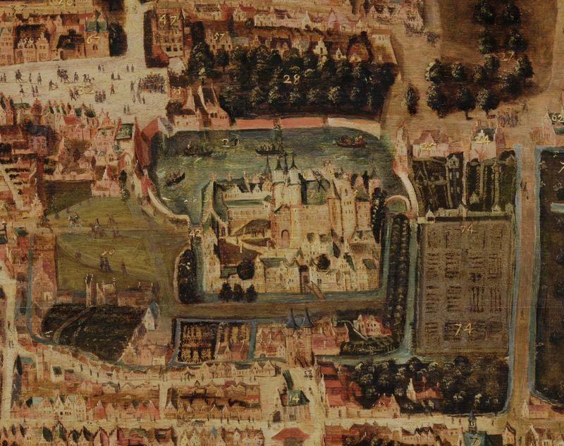 Deze geschilderde plattegrond laat zien hoe Den Haag er in 1570 uit zag. De slotgrachten rond het Binnenhof zijn goed te zien – Cornelis Elandts, 1663 – Collectie Haags Historisch Museum