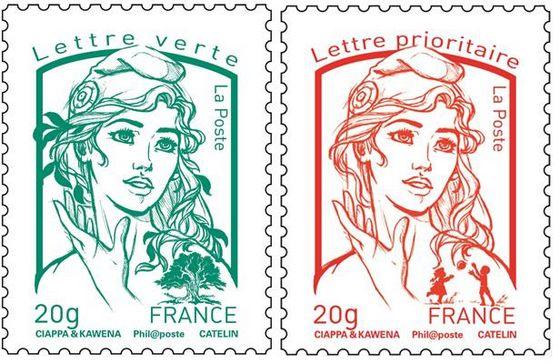 De postzegel met de nieuwe afbeelding van Marianne