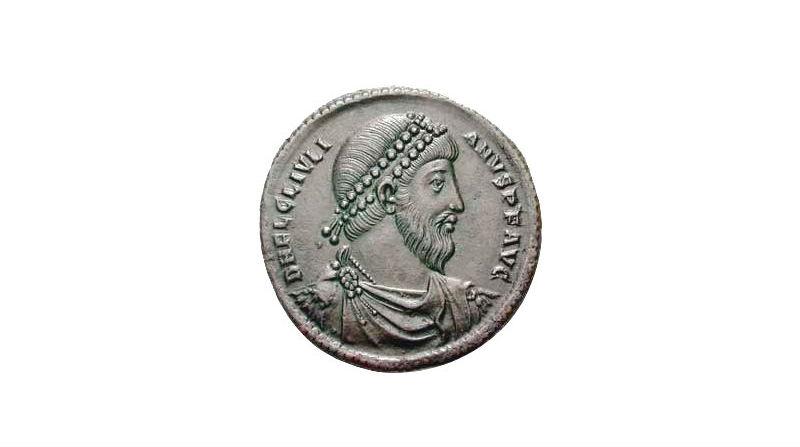 Beeltenis van Julianus Apostata op een bronzen munt – Foto: CC