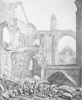 De ruïnes van de in 1674 ingestorte Domkerk - Prent: Het Utrechts Archief / H. Saftleven