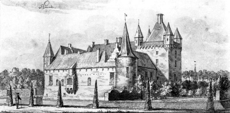 Oude tekening van kasteel Hernen dat uit een versterkte woontoren is ontstaan