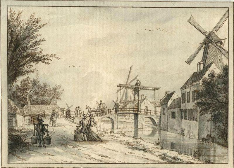 De Zuid-West-Buitensingel gezien naar de Loosduinsebrug (P.C. la Fargue, 1756)