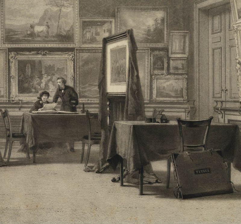 Fragment uit een tekening van de Eerste Schilderijenzaal van Teylers Museum
