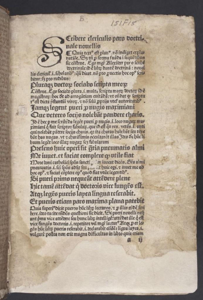 Alexander de Villa Dei, Doctrinale, 1489 - Koninklijke Bibliotheek