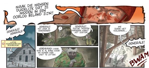 Episode in de strip waarin Sosabowski zich realiseert dat zijn troepen zonder veerpont opgesloten zitten. - Hennie Vaesen