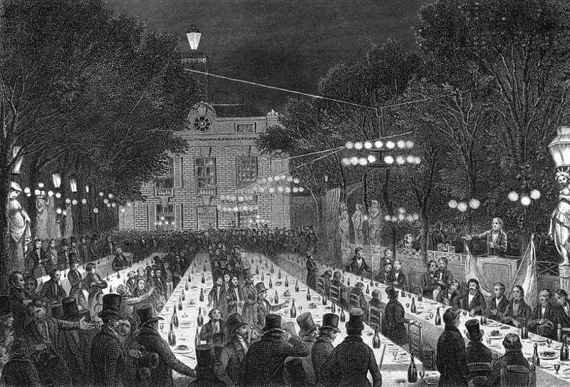 Een van de zeventig. Strijdbanquet du Château-Rouge op 9 juli 1847 - Afb: wiki