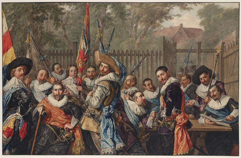 Vergadering van officieren en onderofficieren van de Cluveniersschutterij van Haarlem (naar Frans Hals)