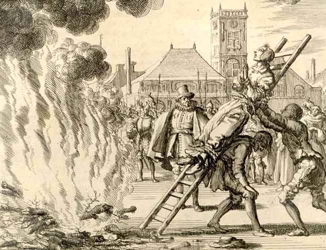 Anneken Hendriks wordt, op een ladder gebonden, in Amsterdam verbrand. (1571, Jan Luyken)