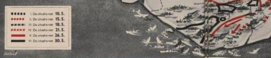 Detail van het scheepskerkhof in de Straat van Dover na afloop van de Slag om Duinkerken in het Duitse propagandablad Signaa.