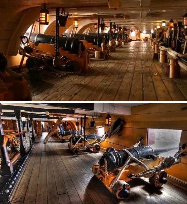 HMS Victory's - Foto's: screenshots van een YouTube-tour