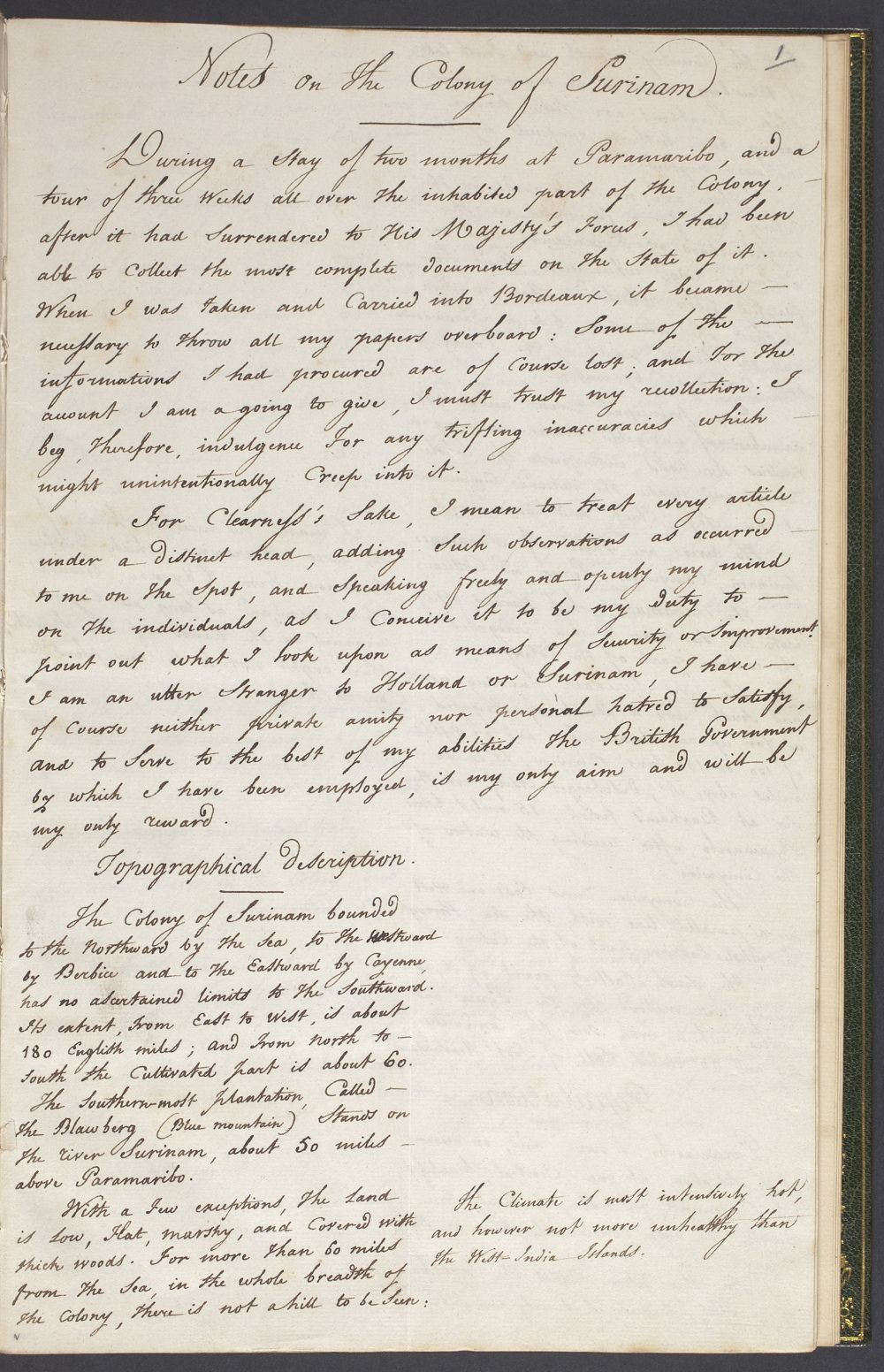 Notes on the colony of Surinam, 1800 - Koninklijke Bibliotheek