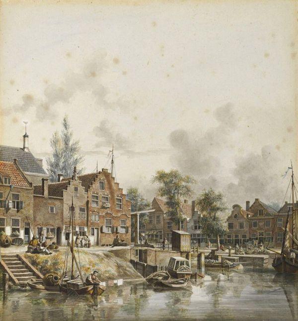 Tekening van de Bemuurde Weerd - Jan Hendrik Verheijen, ca. 1830 (Utrechts Archief)