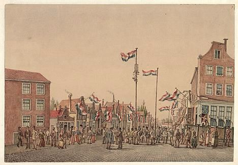 Feestelijke inwijding van de Willemsstraat op 24 Augustus 1857 - Tekening 1898 door J.M.A. Rieke (Stadsarchief Amsterdam)