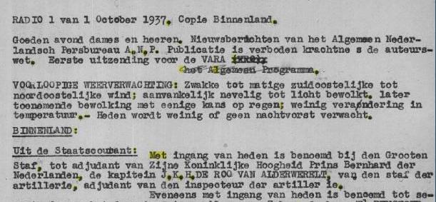 Begintekst van het eerste ANP-radiobulletin op 1 oktober 1937