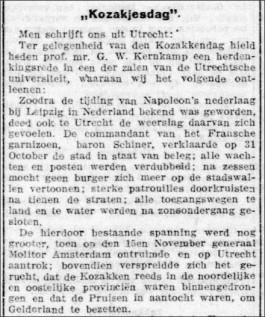 In Utrecht werd een eeuw geleden nog een 'Kozakjesdag' gevierd.