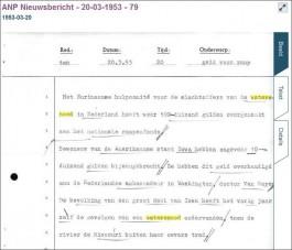 ANP-bullein over de hulp uit Suriname na de Nederlandse watersnood van 1953