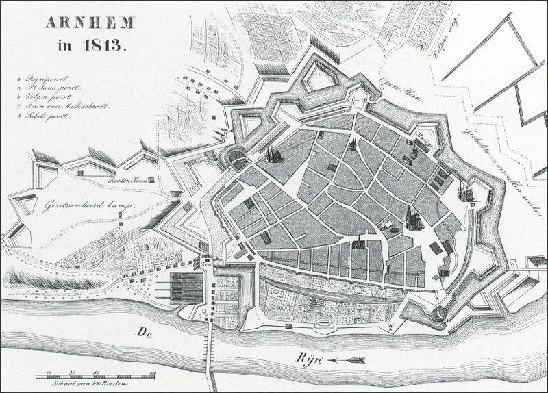 Kaart van Arnhem in 1813 (Arneym.nl - Negentiende eeuw)