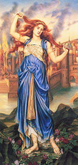 Cassandra voor de brandende stad Troje - Evelyn De Morgan, 1898
