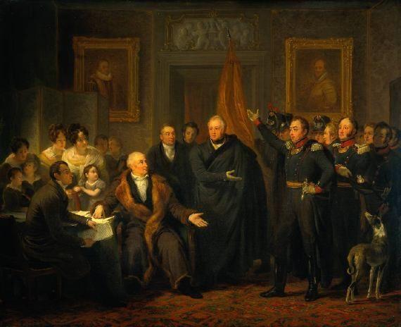 De aanvaarding van het Hoog Bewind door het Driemanschap in naam van de prins van Oranje, 1813 (schilderij 1828) van Jan Willem Pieneman (1779-1853)