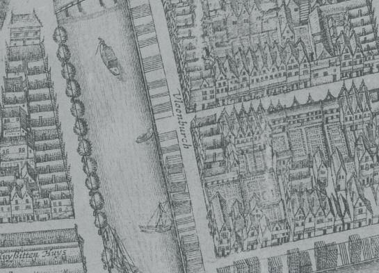 Balthasar Florisz van Berckenrode. Uitsnede uit de plattegrond van Amsterdam (1657). Ingekleurd zijn de drie Portugese synagogen: 1. Beth Jacob (1614-1639), 2. Neve Sjalom (1612- 1639), 3. Beth Israel (1618-1639) en Talmoed Tora (1639-1675). - WBOOKS