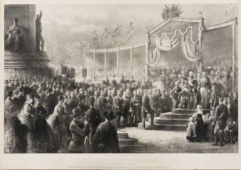 De onthulling van Monument Plein 1813 op 17 november 1869 op een prent van Johannes Jacobus Mesker. Collectie Haags Historisch Museum