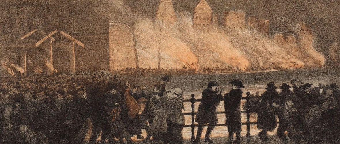 Oproer in Amsterdam: in de nacht van 15 op 16 november 1813 worden Franse douanehuisjes in brand gestoken. Gedeelte van een prent door J.C. Greve (1813); collectie Stadsarchief Amsterdam.