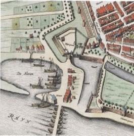 De Rijnpoort op een kaart van Johannes Blaeu van ca. 1650. Duiderlijk is te zien dat gepoogd werd de toegang tot de stad zo moeilijk mogelijk te maken. Dat gold omgekeerd voor de Fransen, toen die de stad uit wilden vluchten.