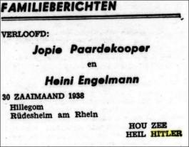 Twee overtuigde nationaal-socialisten, in Hillegom en Duitsland, kondigden in 1938 in het NSB-weekblad Volk en Vaderland met 'Heil Hitler' hun verloving aan.