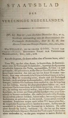 Aanvaarding soevereiniteit door Souverein Vorst Willem I op 2 december 1813 (Staatsblad der Vereenigde Nederlanden, 1813 no. 4, eerste bladzijde)