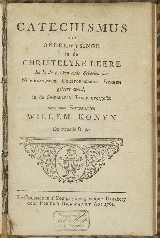 Catechismus in het Singalees, 1761 - KB