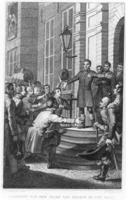 Aankomst van Koning Willem I in Den Haag op 30 november 1813. Vervaardigd door Ph. Velyn, 1813 (Haags Gemeentearchief)