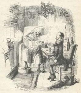 Baas Scrooge en zijn werknemer Bob Cratchit in de Kersttijd (John Leech, 19e eeuw)