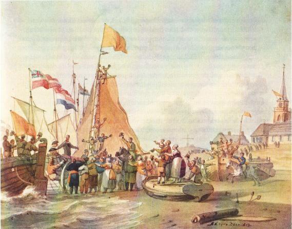 Landing van de prins op een schoolplaat van N.L. Penning, december 1813