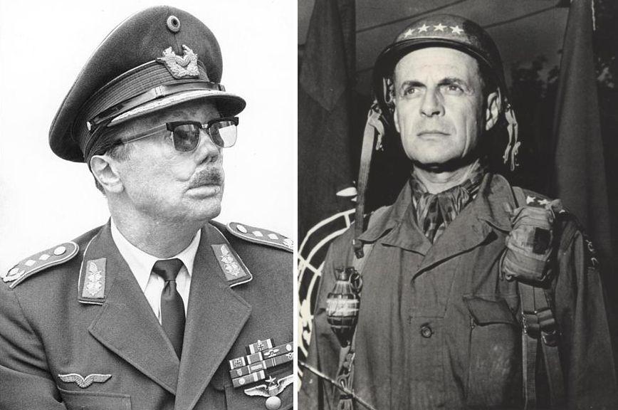 De Duitse luchtmachtgeneraal Johannes Steinhoff (links) en de Amerikaanse viersterrengeneraal Matthew B. Ridgway (rechts).
