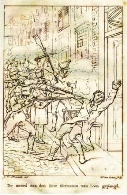 'De moord aan den heer Hermanus van Loon gepleegd'. Illustratie in boek Meulman over de Franse wraak in 1813.